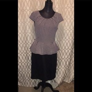 Connected Brand Black &Pink Polka Dot Peplum Dress